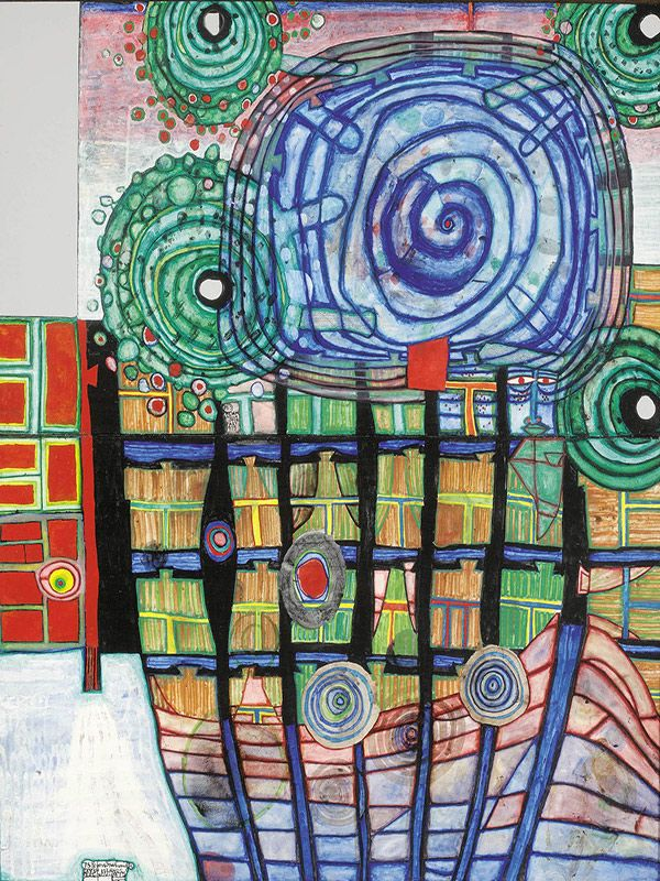 Escape of the Indoor Sky by Friedensreich Hundertwasser