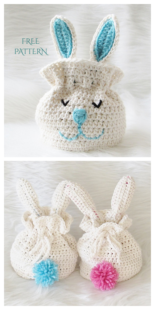 Bunny Easter Gift Bag Free Crochet Patterns - DIY