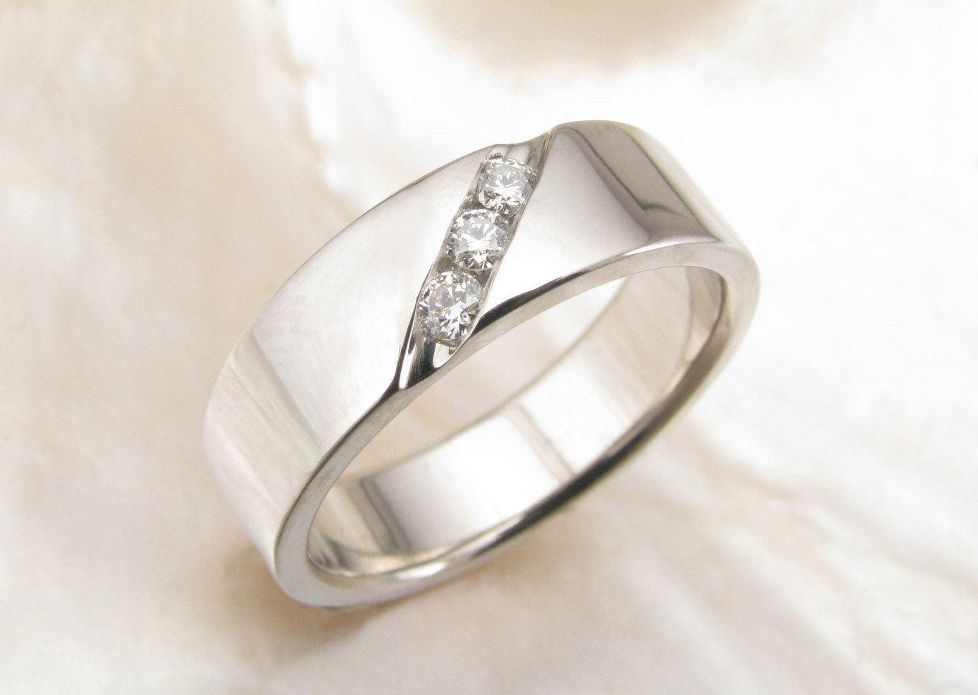 men's wedding band with channel-set diamonds in palladium ...