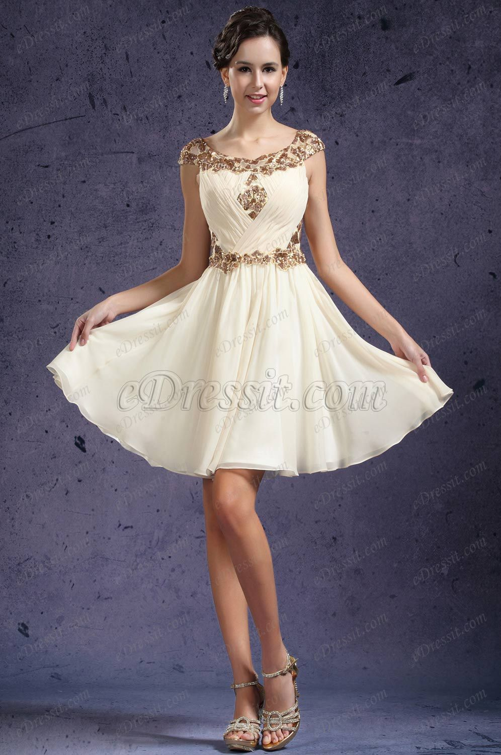 eDressit New Pleated Cap Sleeves Cocktail Dress Party Dress ...