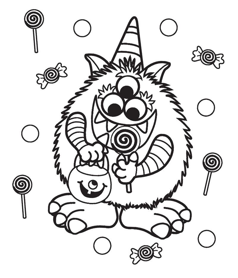 Halloween Candy Critter Coloring Page Free Halloween Coloring Pages Monster Coloring Pages Halloween Coloring Pages