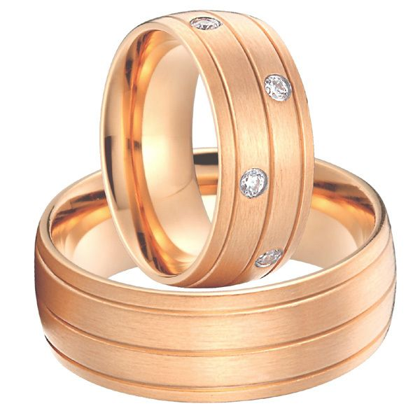 Click to Buy rose gold color alliances anel Custom titanium steel
