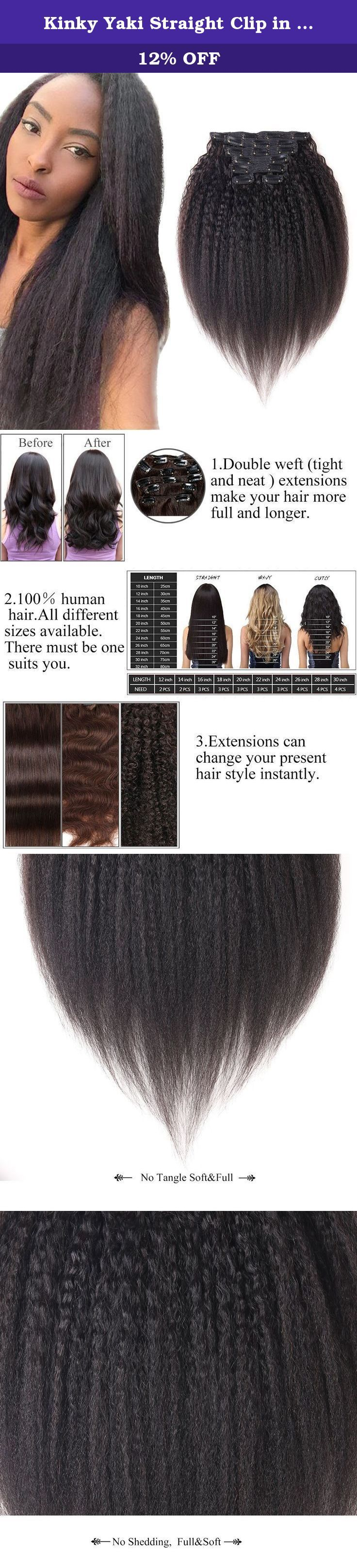 Kinky Yaki Straight Clip In Human Hair Extensions Black Double Weft