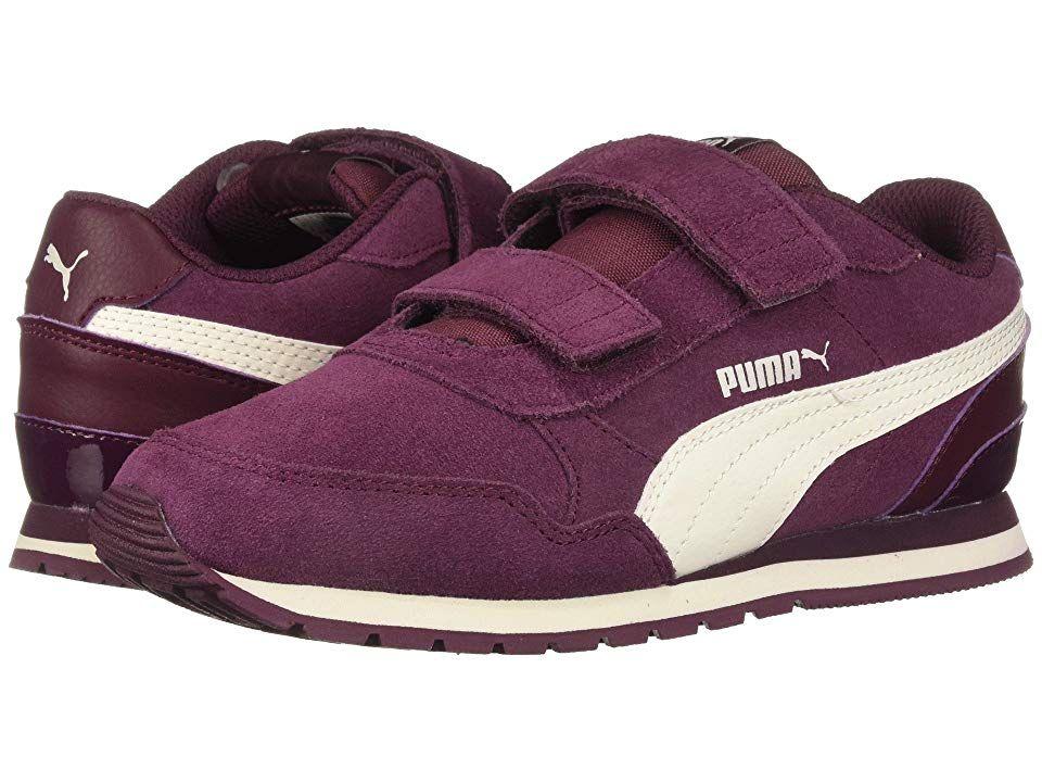 6b7454ec94 Puma Kids ST Runner v2 SD V (Little Kid) (Fig/Whisper White) Girl's ...