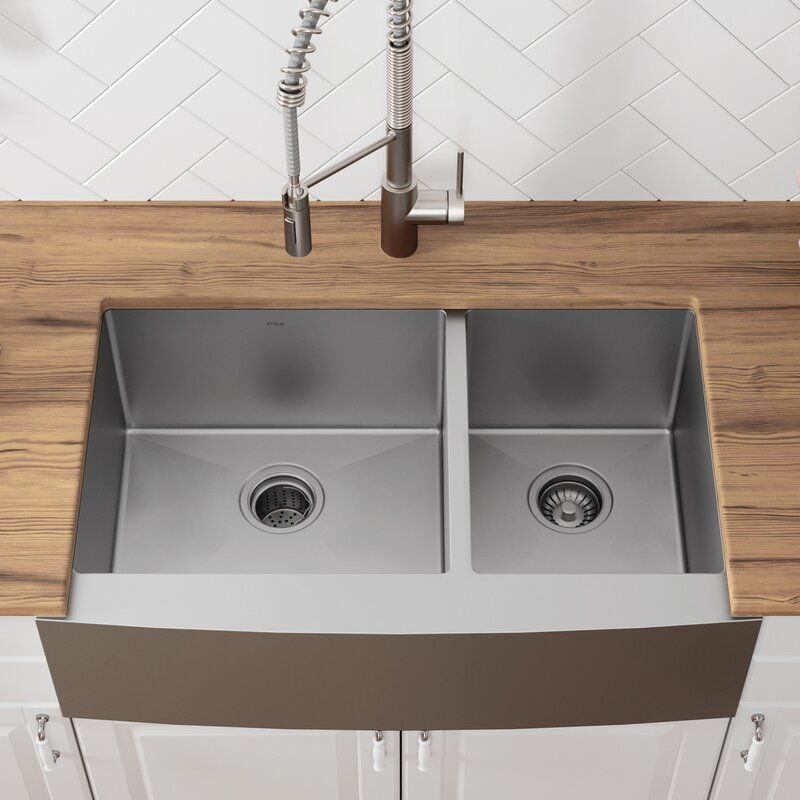 Khf203 36 Kraus 36 L X 21 W Double Basin Farmhouse Kitchen Sink With Basket Strainer Rev In 2020 Farmhouse Sink Kitchen Apron Sink Kitchen Apron Front Kitchen Sink