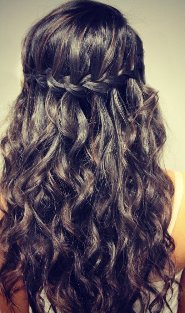 Curly hair with waterfall braid google search hair and make up curly hair with waterfall braid google search ccuart Images