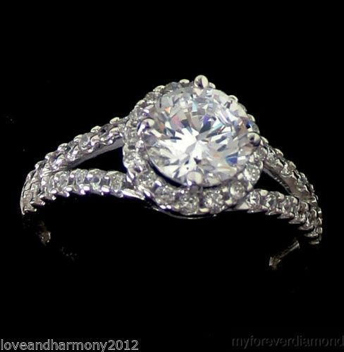 1.44 carats Round halo Brilliant cut Engagement Ring 14K SOLID White gold