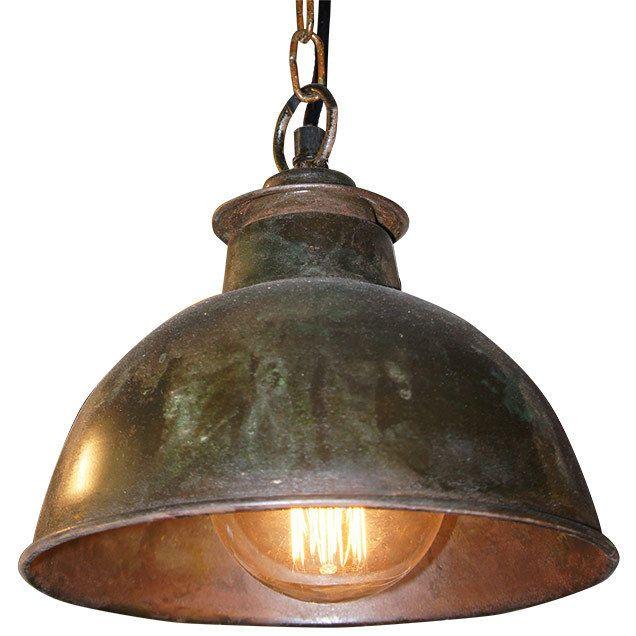 Bourlon 22cm rustic industrial pendant ceiling light copper patina