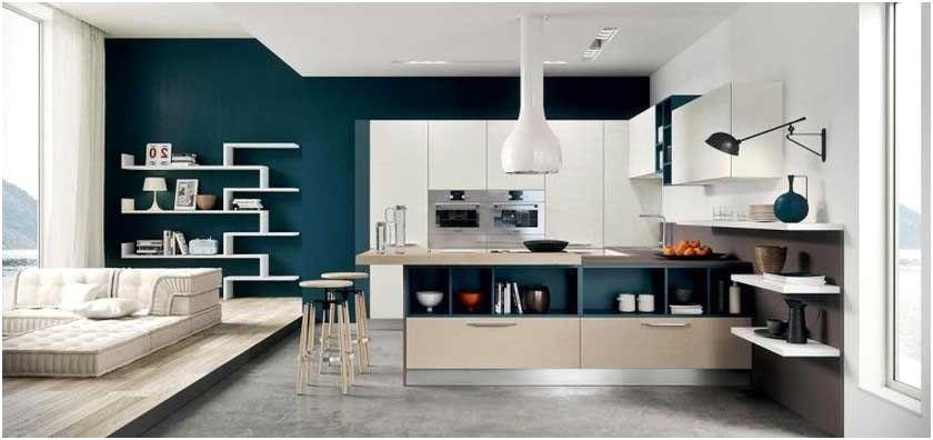 Cuisine Blanche Mur Bleu Avec Photo Peinture Pour Ouverte Sur Et