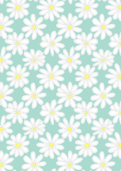 Bright Happy Daisies On Mint Art Print
