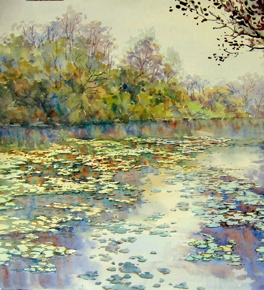 Watercolor Landscape Pond Lake Water Trees Reflection