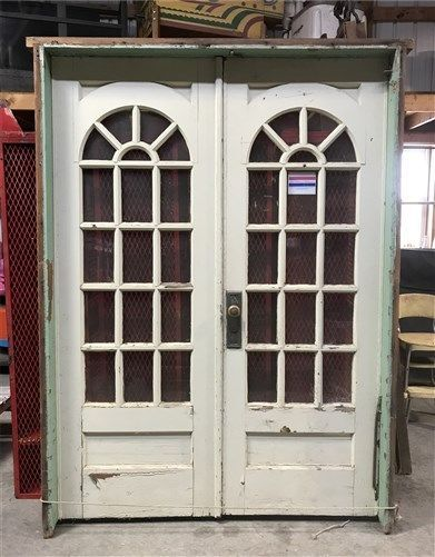 Pair Arched Wood Glass Pane Doors Vintage Architectural Salvage