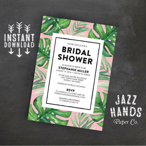 Tropical leaf printable bridal shower invitation template tropical party pink wedding shower for Tropical invitation template