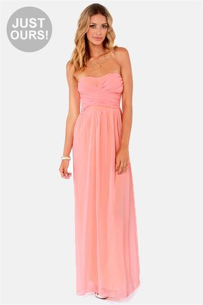 f850b196a08 LULUS Exclusive Slow Dance Strapless Peach Maxi Dress at Lulu s. Only 70  bucks!!! Love this website.