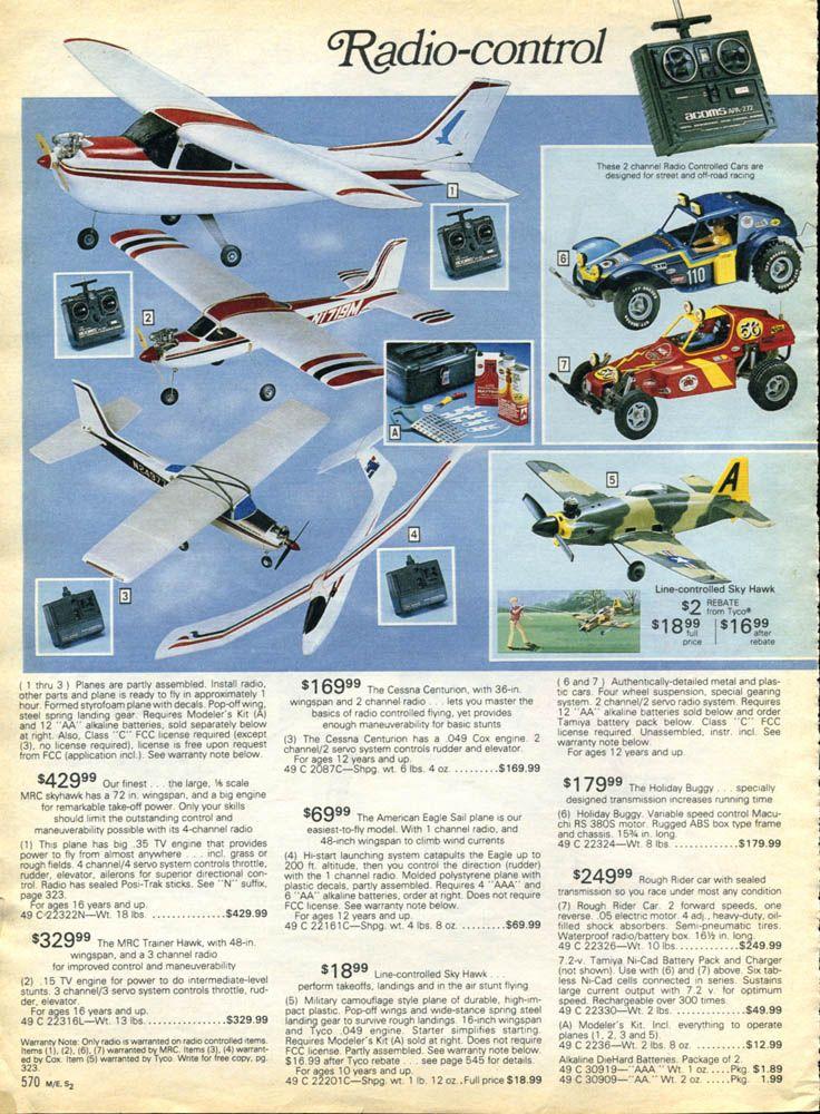 Tamiya RC models in 1983 & 1985 Sears catalog. Sears