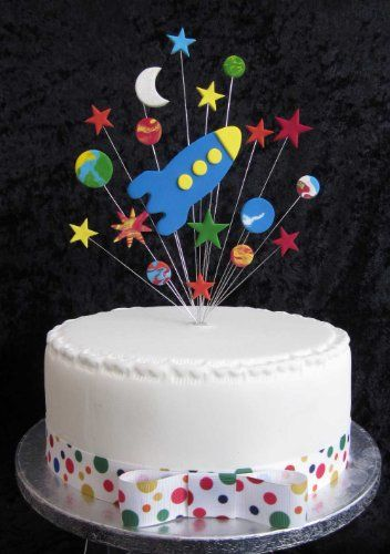 rocket with stars planets and moon birthday cake topper https