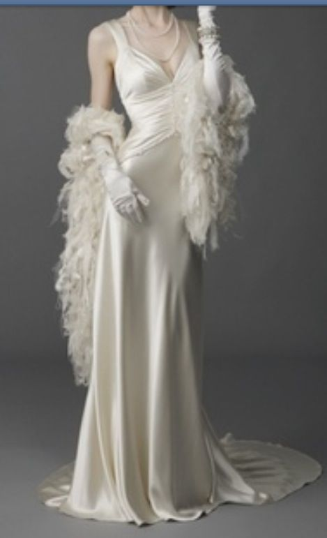 1930's satin gown with train. I always wanted to know what it would be like to wear this and of course with the matching long satin gloves..