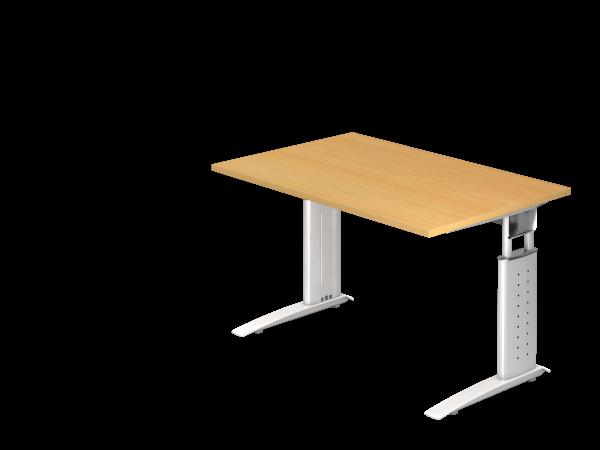 Schreibtisch Us12 C Fuss 120x80cm Buche Gestellfarbe Weiss Tisch