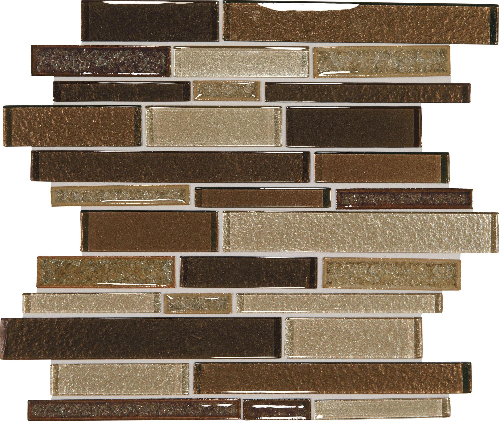 Sample Rustic Copper Linear Natural Slate Blend Mosaic: Crystal Shores Copper Coast 12x13 Random Linear Blended