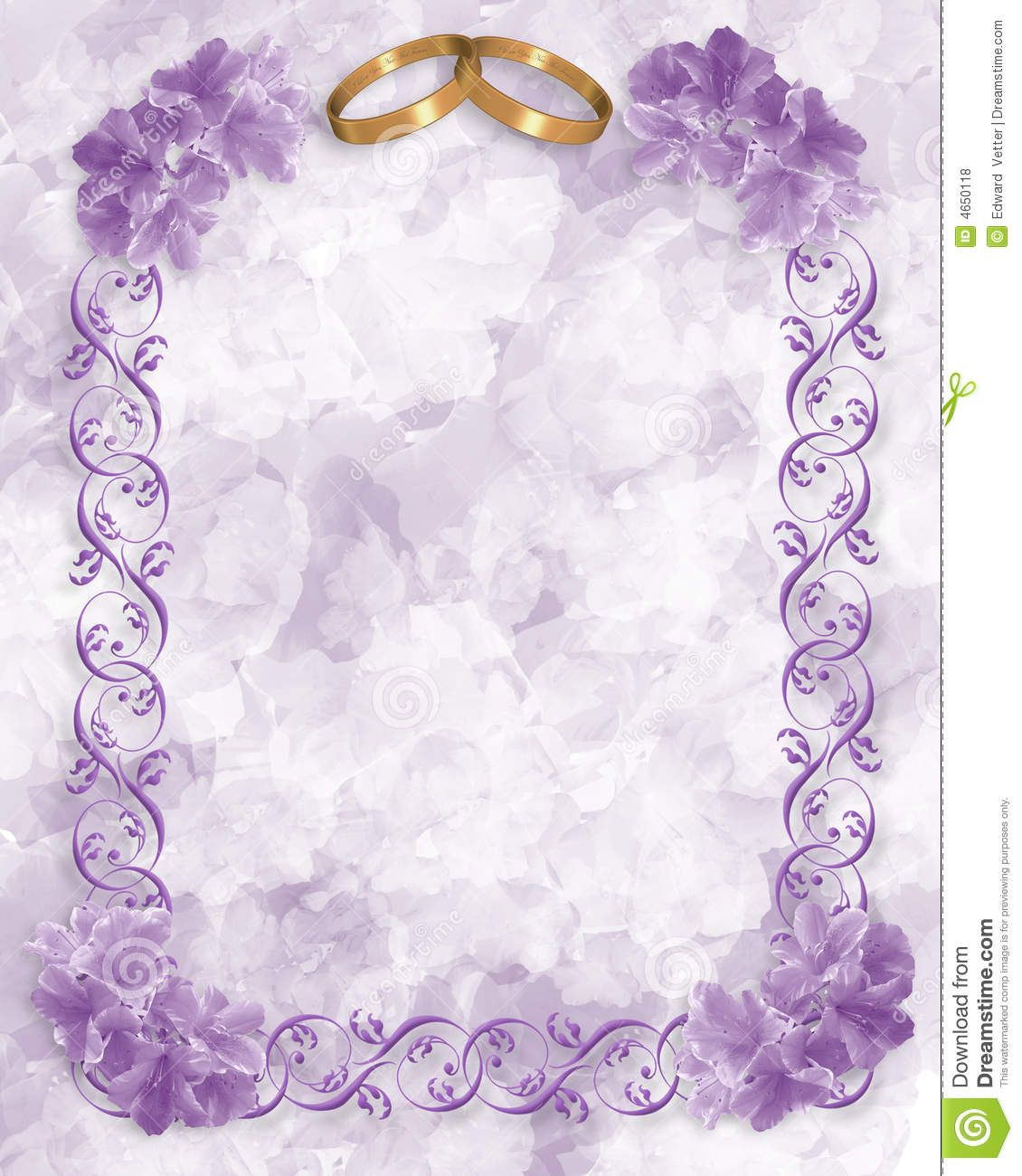 Lavender Border Illustration composition for wedding invitation