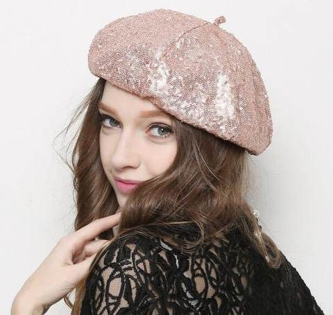 7a1173207e5 Fashion sequins French beret hat for girls spring wear