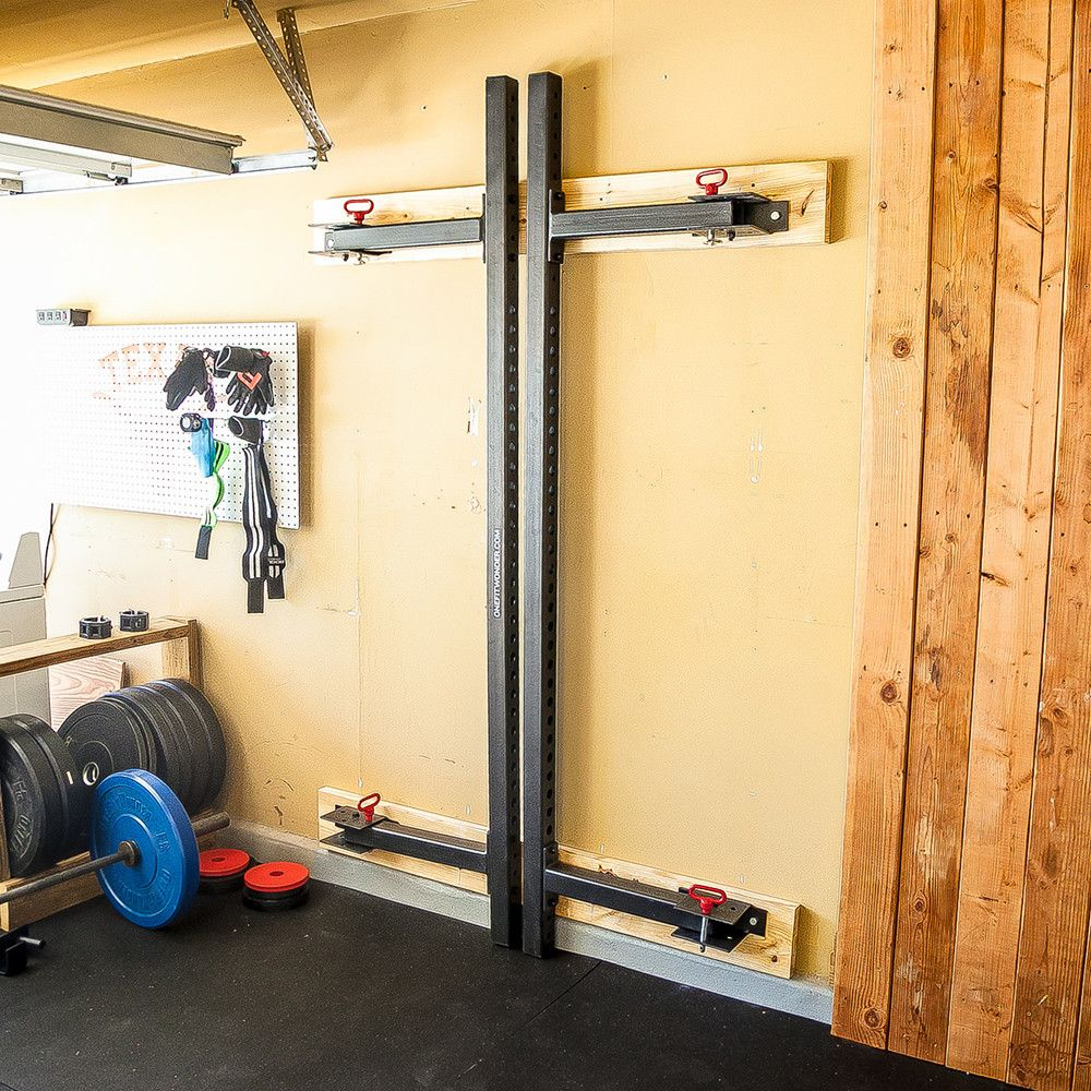 Retractable power rack garage gym and