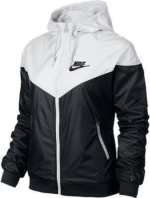8868b00756046 Nike WindRunner Women s Jacket Windbreaker Hoodie Black White 545909 ...