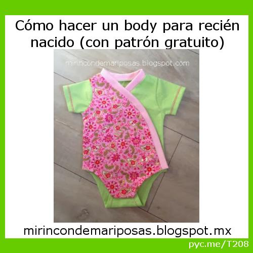 hacer un body para bebé recién nacido (con patrón gratuito) por Mi ...