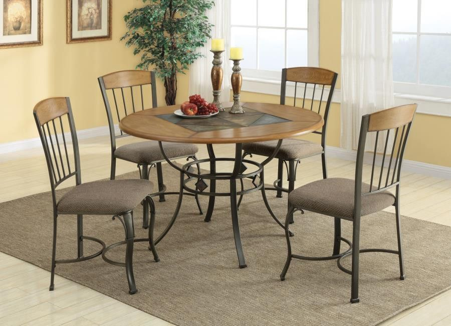 Round Table WMetal Legs Wood Top WSlate Inlay Products - Dining table with slate inlay