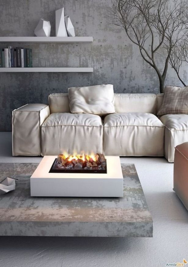 Furniture Indoor Fire Pit Coffee Table For Sectional Sofa With