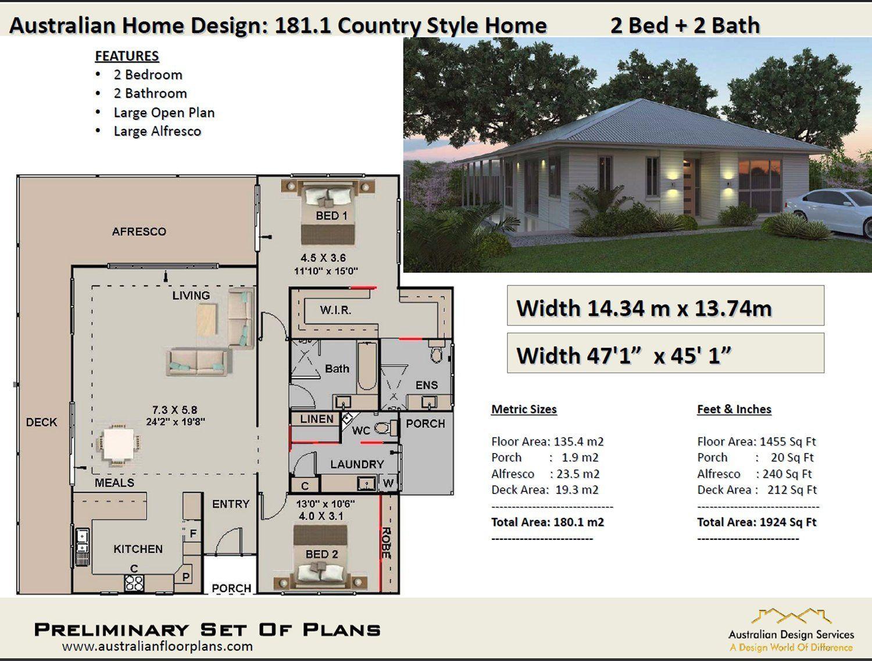 2 Bedroom House Plans Australia 180m2 1924 Sq Ft Etsy House Plans Australia Country Style House Plans 2 Bedroom House Plans