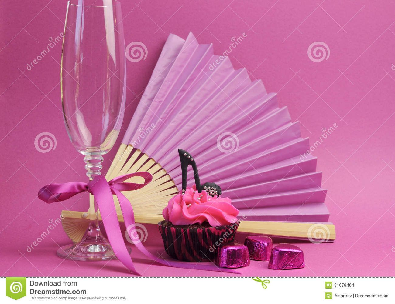 Pink Party Decorations With Fan Champagne Gl And High Heel
