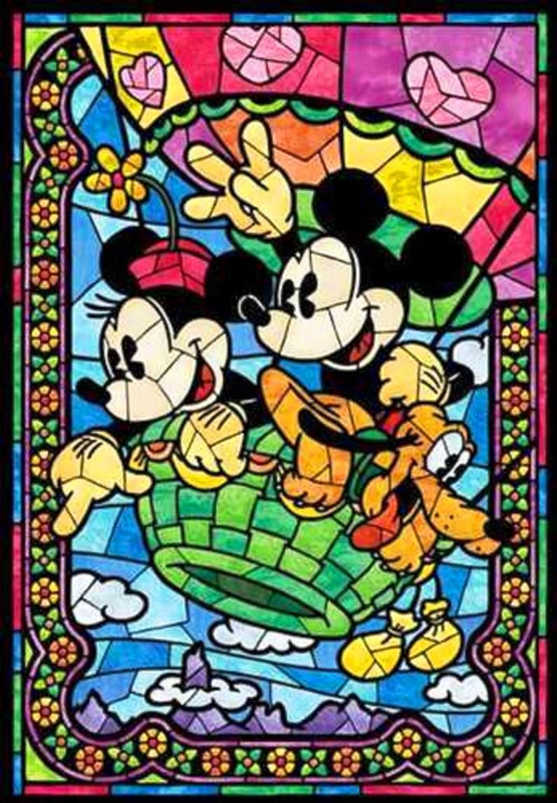 BUY 2 GET 1 FREE Mickey and Minnie Disney Stained Glass