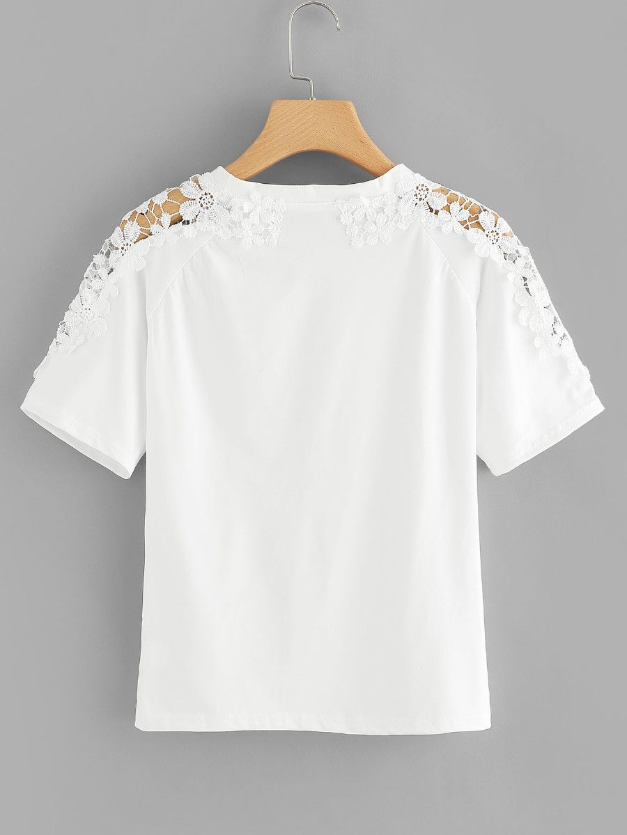 6f3f0f6bf6 Plus Contrast Lace Round Neck Tee -SheIn(Sheinside) | Clothes in ...
