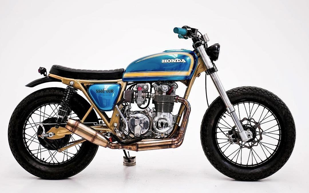 "bikebound: ""Honda CB550 by our buds ar @herenciacustomgarage. Love! #hondacb #cb550 #tracker #scrambler """
