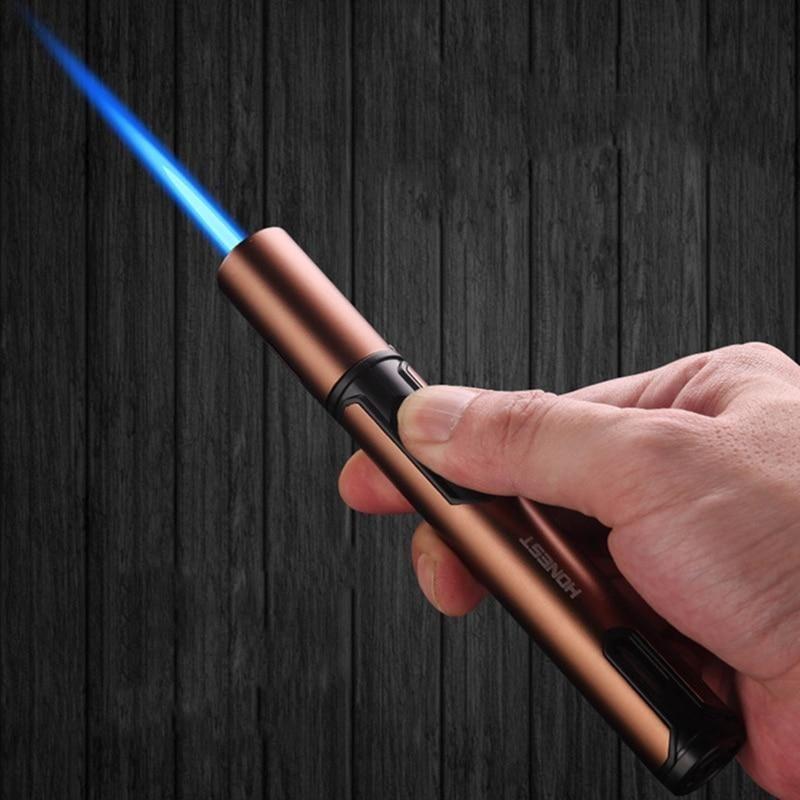 HONEST Pen Spray Gun Jet Butane Candle Lighter Metal Gas Kitchen Welding Torch Turbo Windproof Cigar Pipe Lighter Gadgets Men - Silver