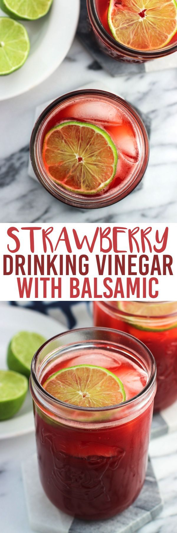 Strawberry drinking vinegar with balsamic is a fruity, refreshing way to drink apple cider vinegar without any 'burn'. This drink is naturally-sweetened.