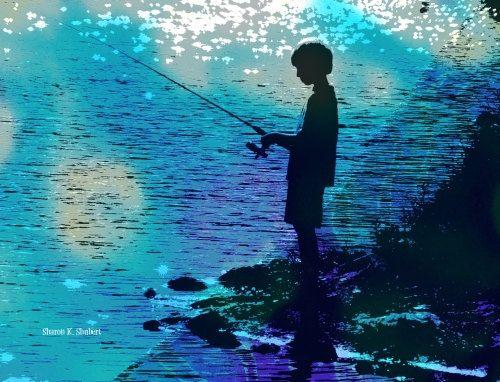 Pin By Toykle Monklej On Lake Art In 2020 Seaside Paintings Lake Art Boy Fishing