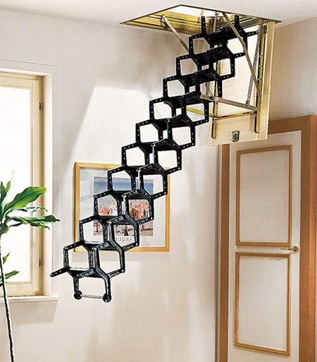 18 Loft Staircase Designs Ideas: Lucas' Idea To Use A Fold Up Step Ladder For Fire Escape