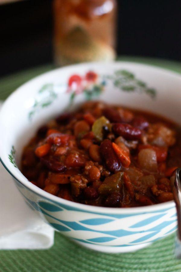 Bush's Two-Bean Turkey and Vegetable Chili #veggiechilirecipe