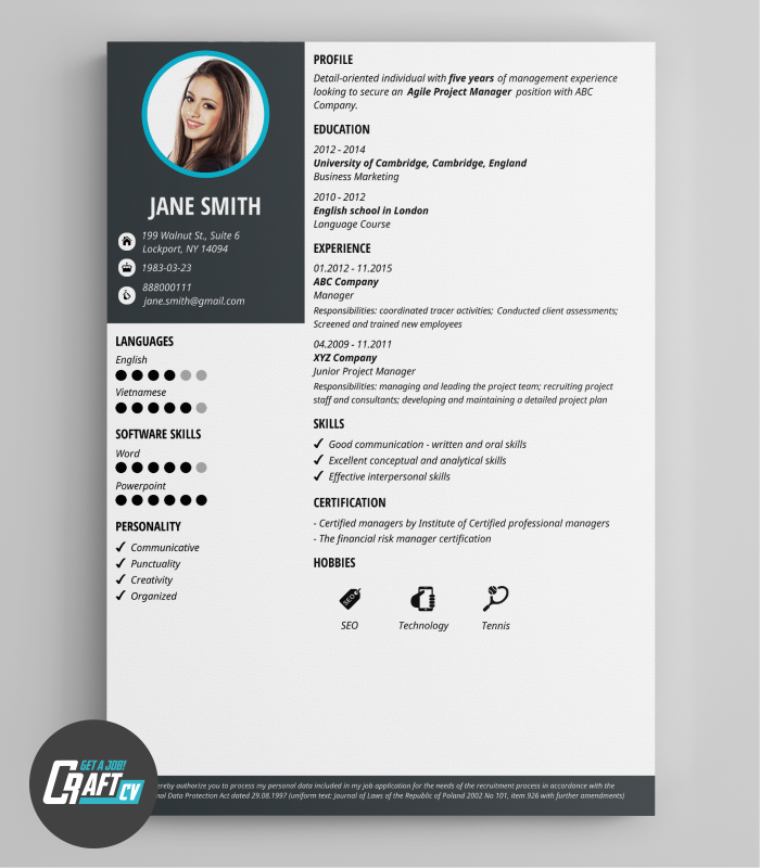 Modern CV Example | Original CV Layout | Resume Templates