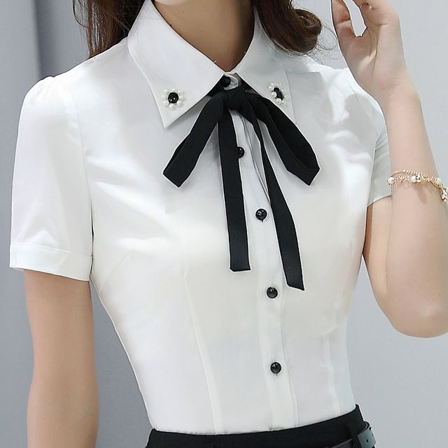 2a7596dc06 Senhora Do Escritório Camisa do Desgaste Do Trabalho 2016 das Mulheres  Beading decorado bow tieTops Turn-Down Collar de Manga Curta Branco Feminino  Blusa de ...