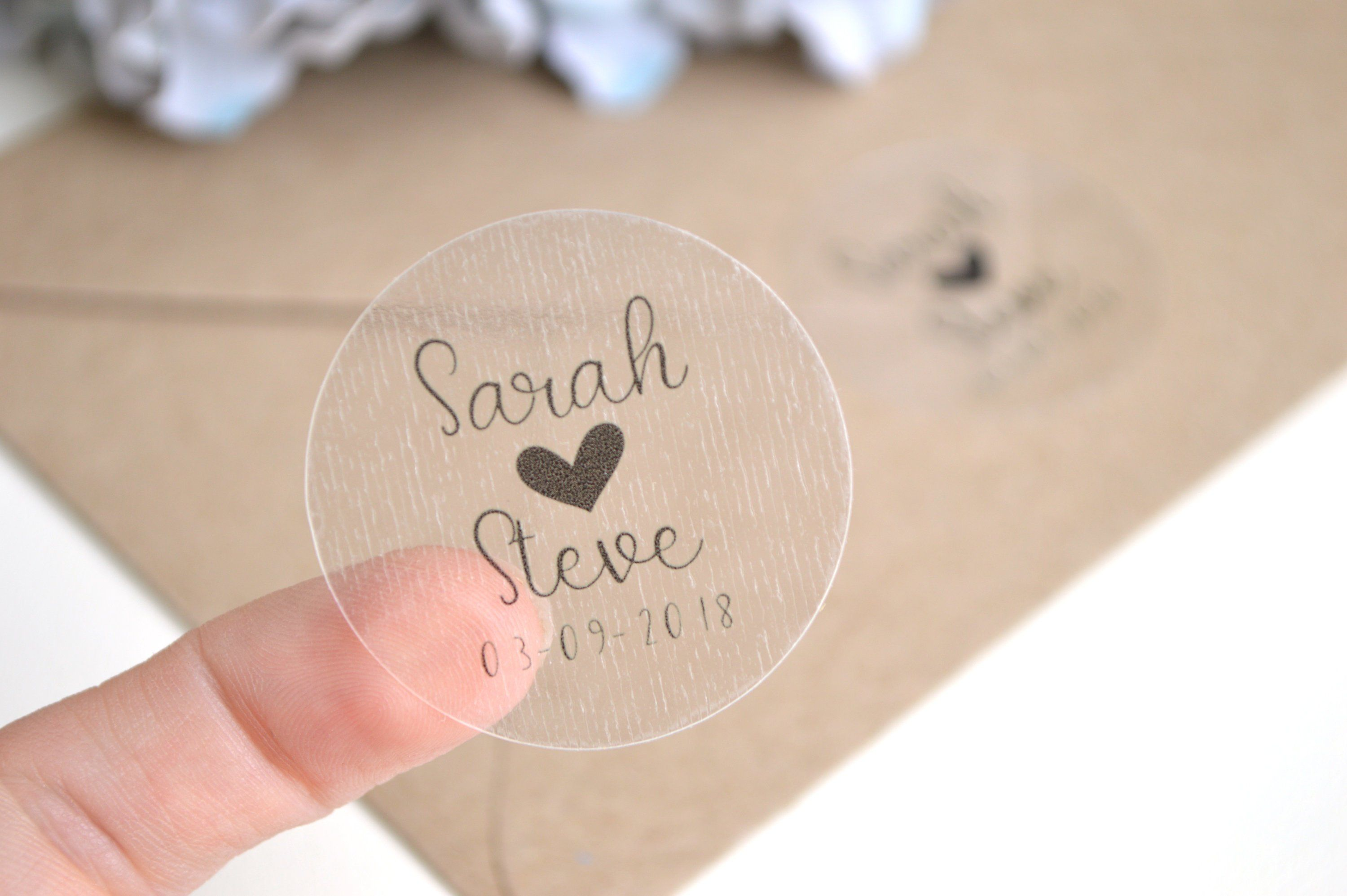 Personalised Sticker Clear Personalised Stickers Wedding Favours Transparent Sticker