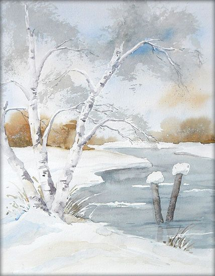 Birken Am See Aquarell 24 X 30 Cm Original Landschaft