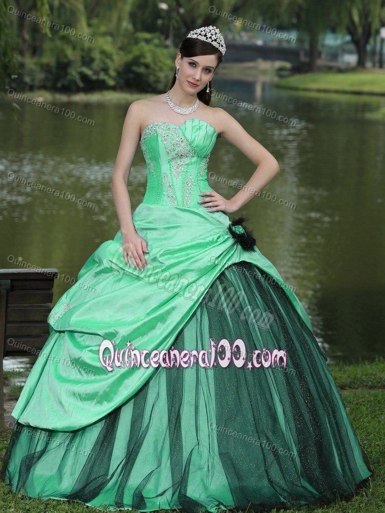 64ae7112064 Apple Green and Black Quinceanera Party Dress with Appliques ...