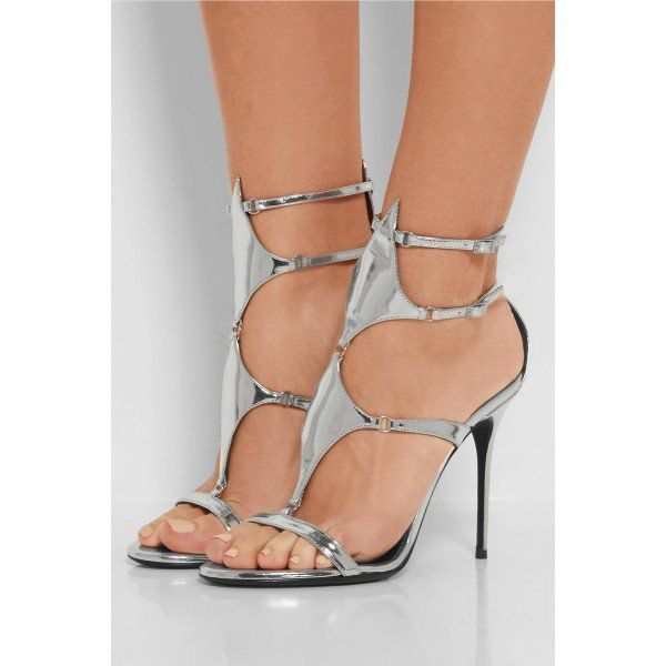 df0c4fec3 Women s Style Gladitator Sandals Silver Gladiator Sandals Mirror Leather  Stilettos High Heels Open Toe Sandal Heels Style Summer and Fall Fashion  2018 For ...