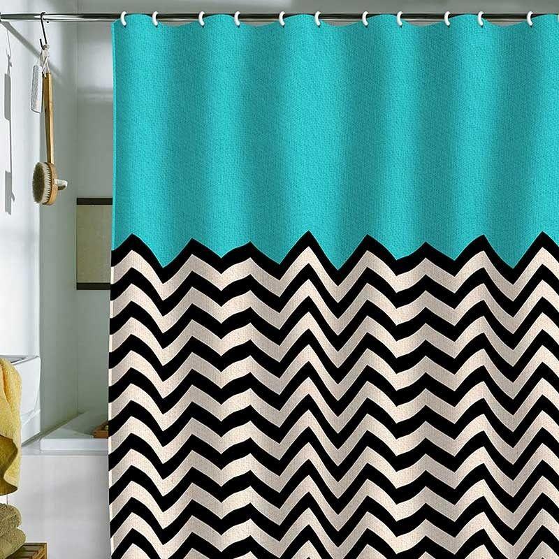 black white chevron shower curtain. Cool shower curtain  black and white chevron stripes with a turquoise blue top curtains