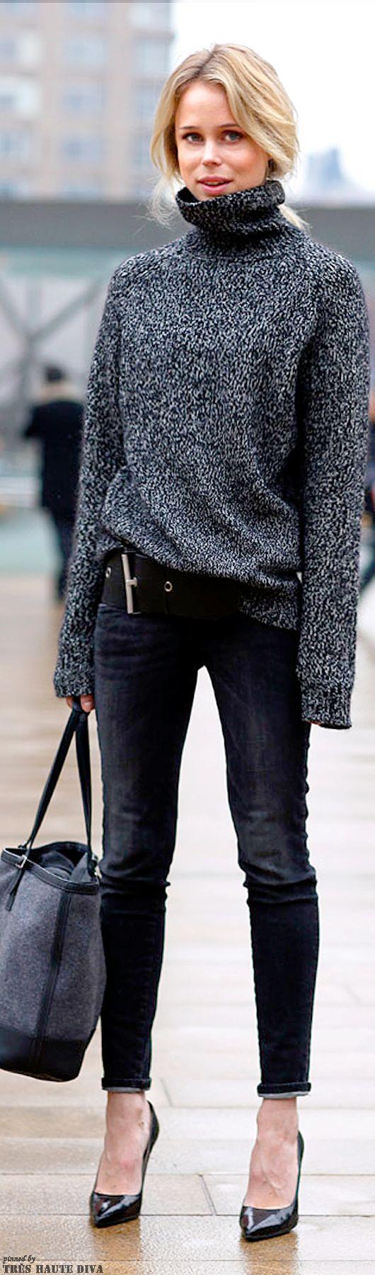 Elin King - Turtleneck Sweater, Black Jeans, Grey Celine Tote ...