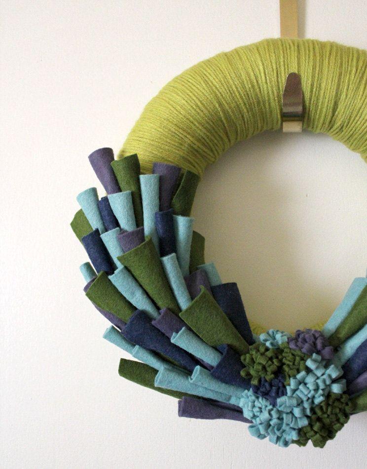 yarn and felt wreath