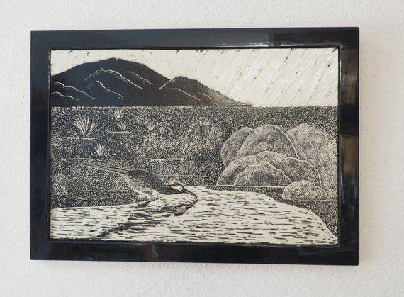 Desert Art Roadrunner Tile Sgraffito Carved Art Tile Framed Art Tile Large Wall Tile Tile Art Ceramic Wall Art Sgraffito Art